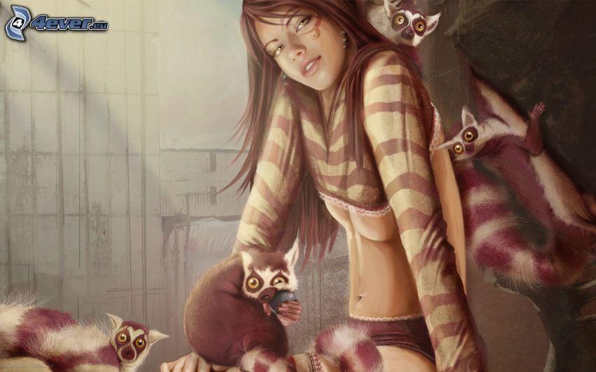 cartoon girl, lemurs