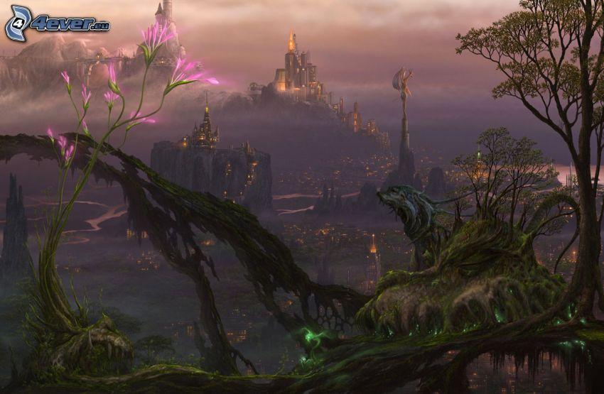 cartoon landscape, fantasy land