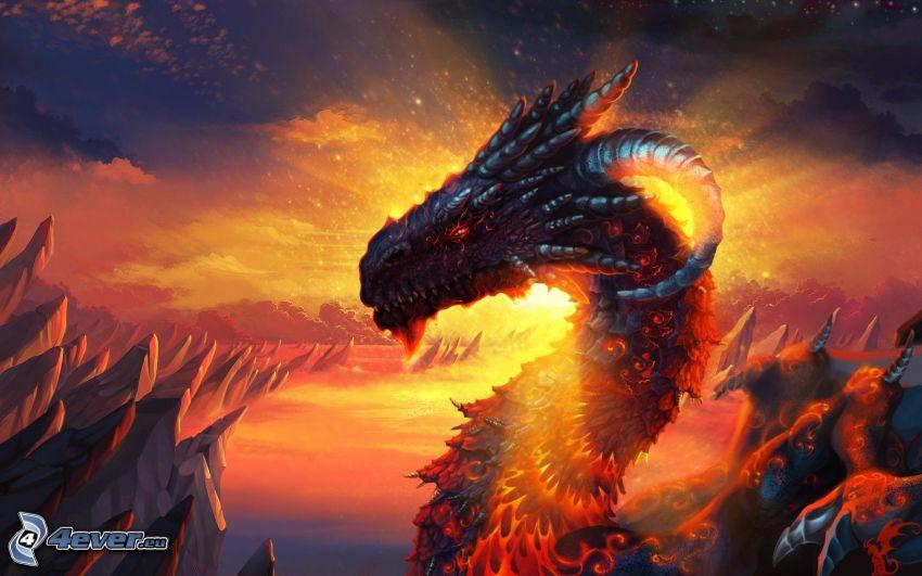 dragon head, sunset