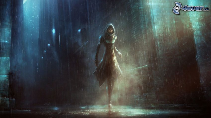 fantasy girl, city, rain