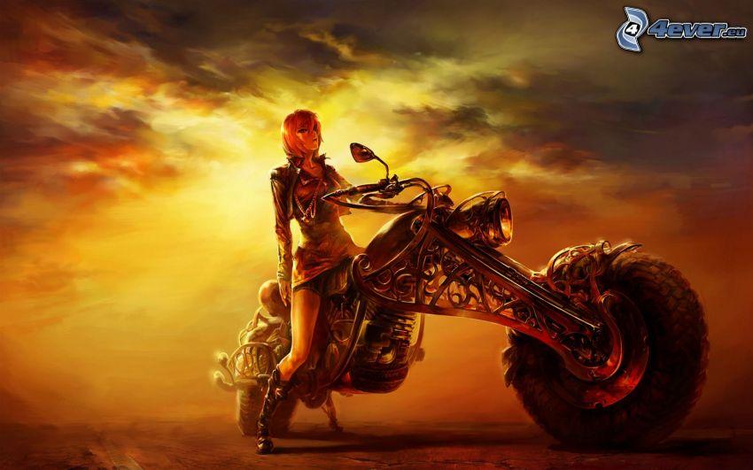 fantasy girl, motocycle