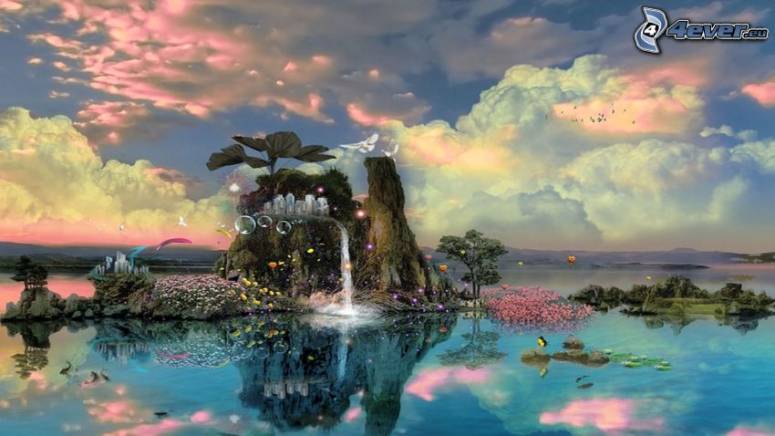 fantasy land, rock, waterfall, trees, bubbles, clouds