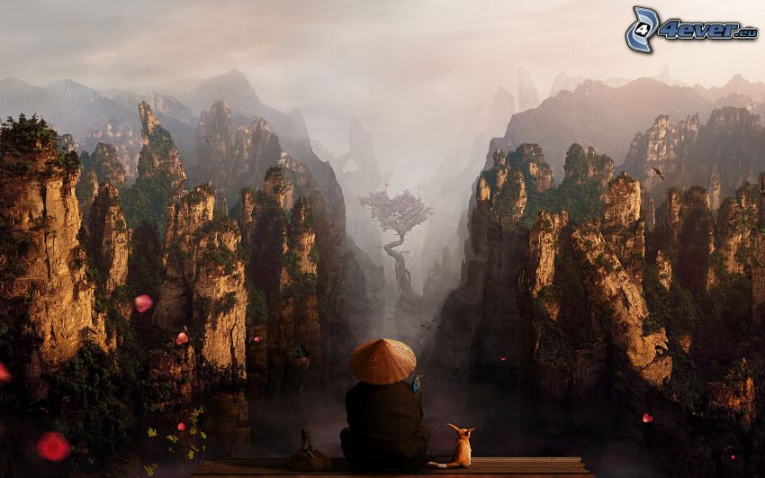 fantasy land, view of the landscape, Japanese, rocky mountains