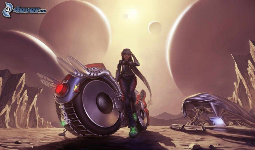 fantasy woman, motocycle, fantasy land, planets