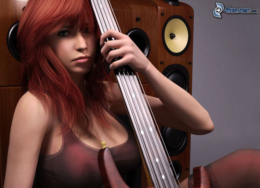 girl with guitar, speaker, redhead