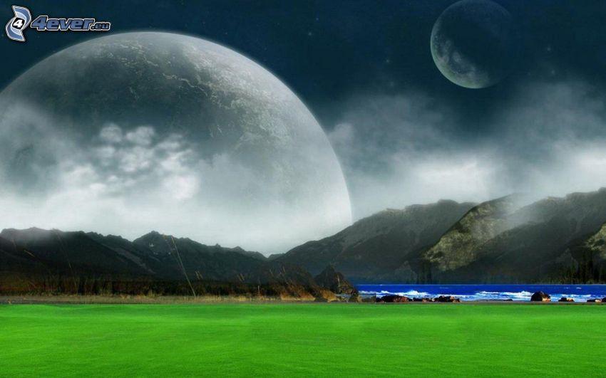 landscape, mountains, lake, planets, fantasy