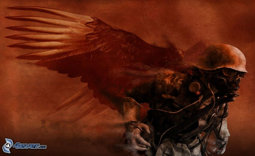 man in gas mask, wings