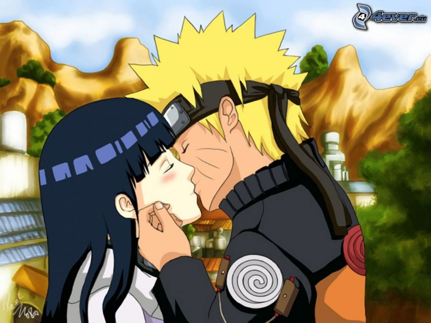 Naruto, anime couple, kiss