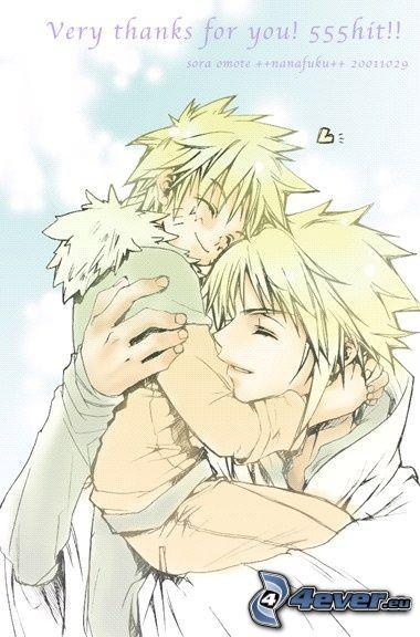 Naruto, Minato, hug