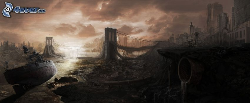 post apocalyptic city, Brooklyn Bridge, destroyed bridge