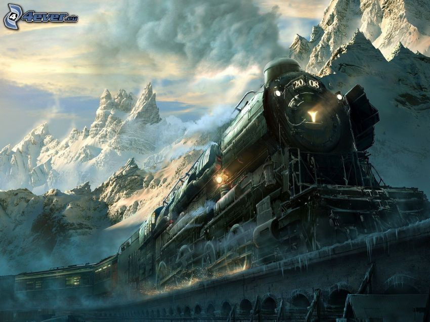 steam train, bridge, snowy mountains