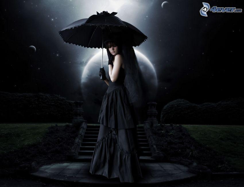 woman with umbrella, moon