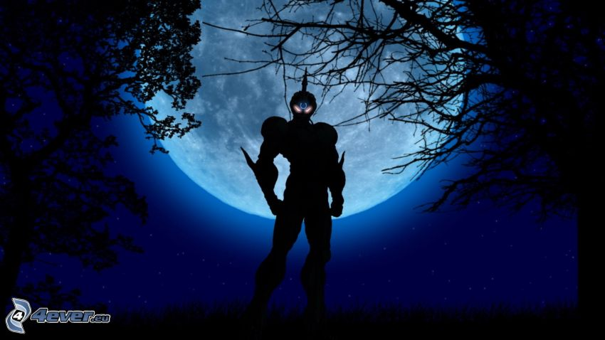 anime warrior, moon, night, silhouettes of the trees