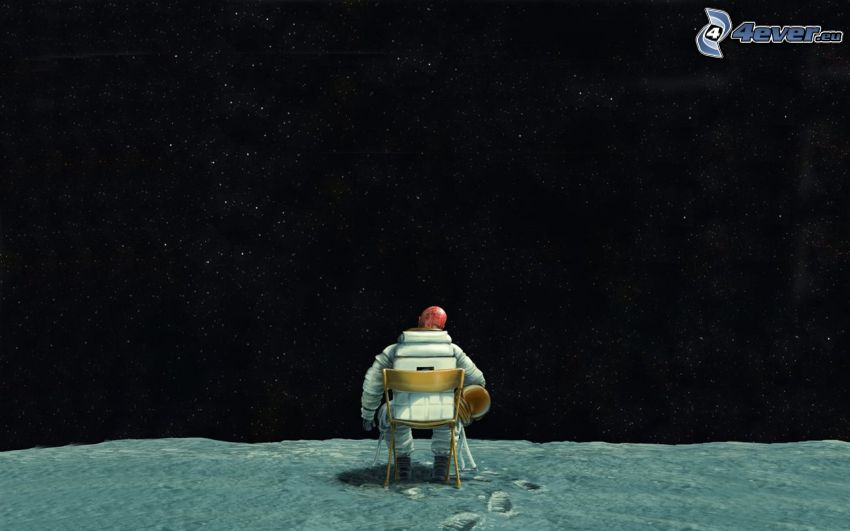 astronaut, starry sky
