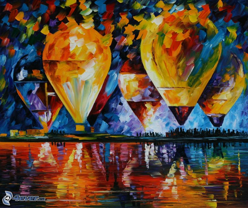 balloons, lake, oil painting, picture
