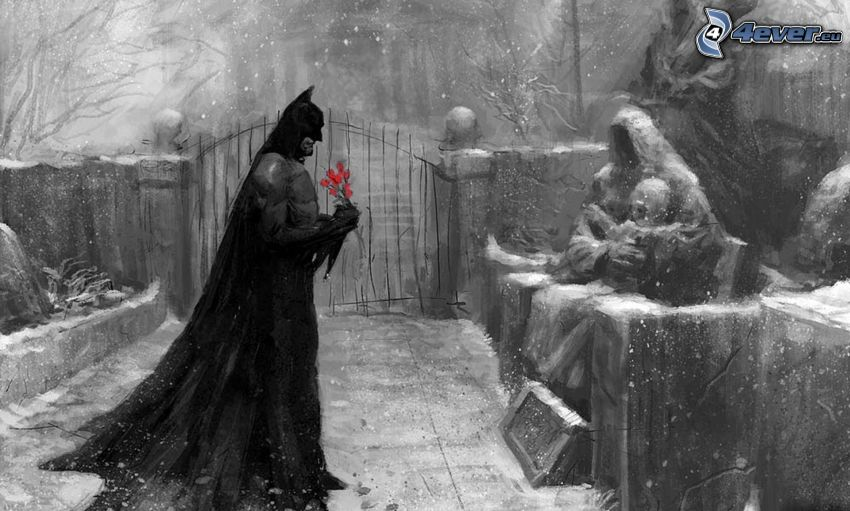 Batman, snowfall, bouquet of roses