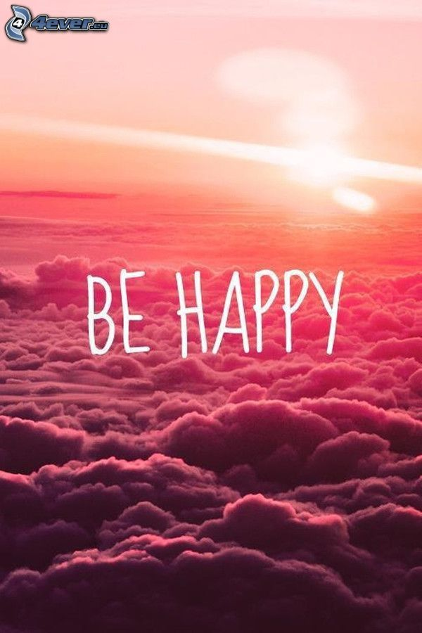 be happy, over the clouds, orange sky