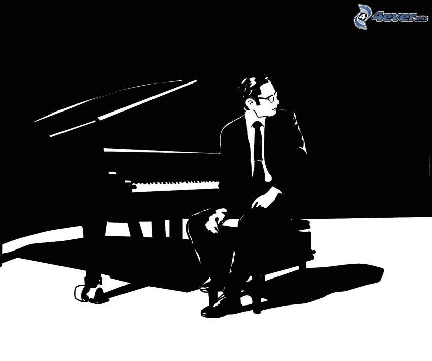 Bill Evans, pianist, black and white