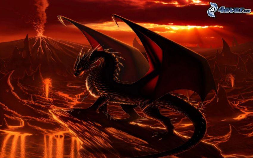 black dragon, hellish landscape, volcano