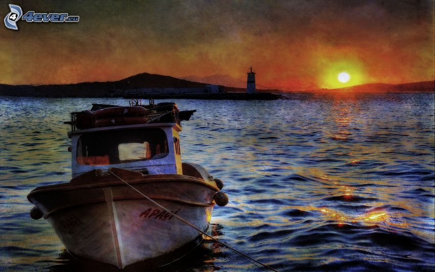 boat, sunset over the lake, lighthouse