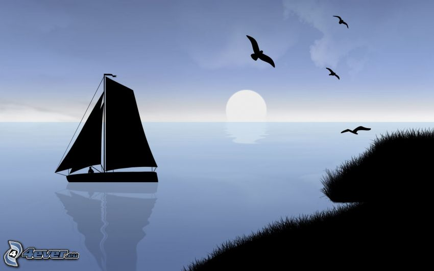 boat at sea, sunset behind the sea, flock of birds, silhouette