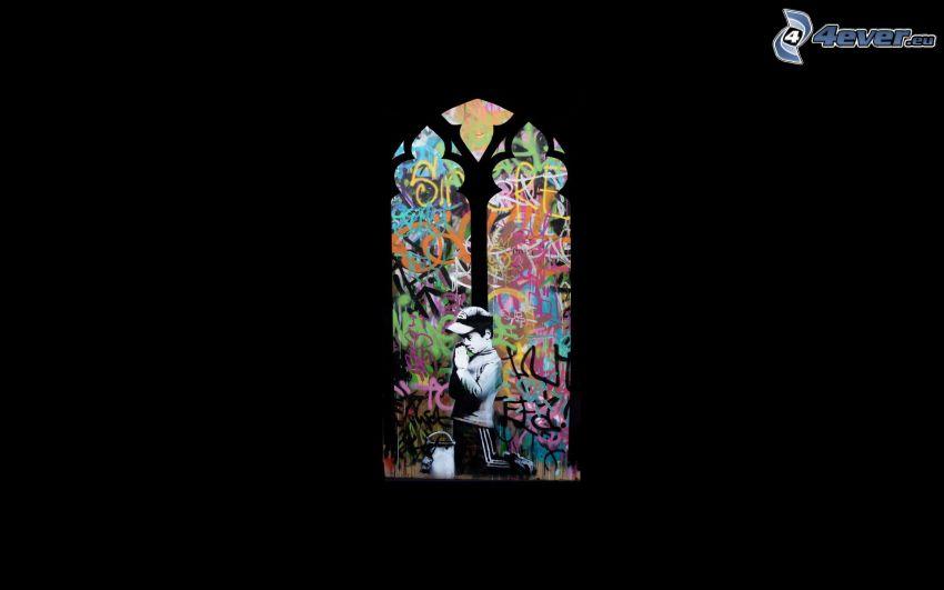 boy, prayer, ancient window