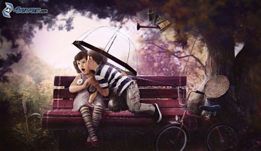 boy and girl, kiss, umbrella, bench, bicycle