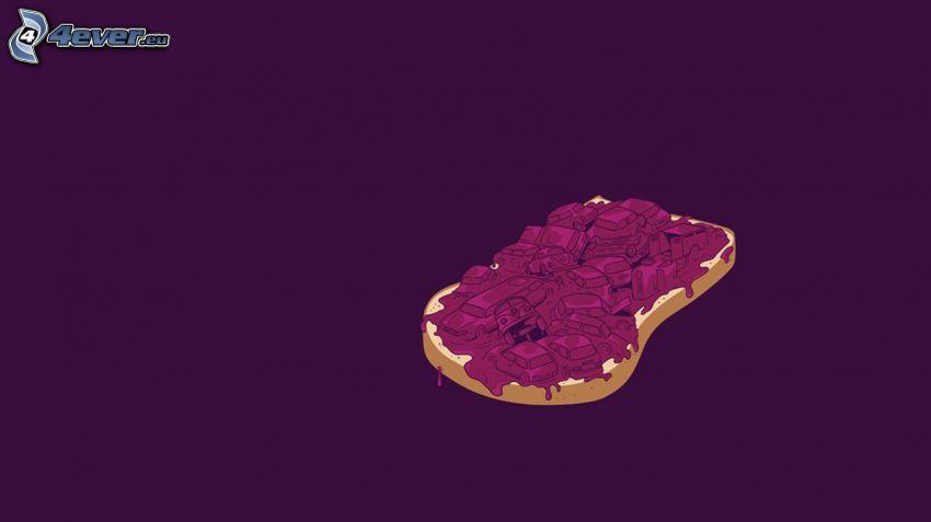 bread, jam, cars