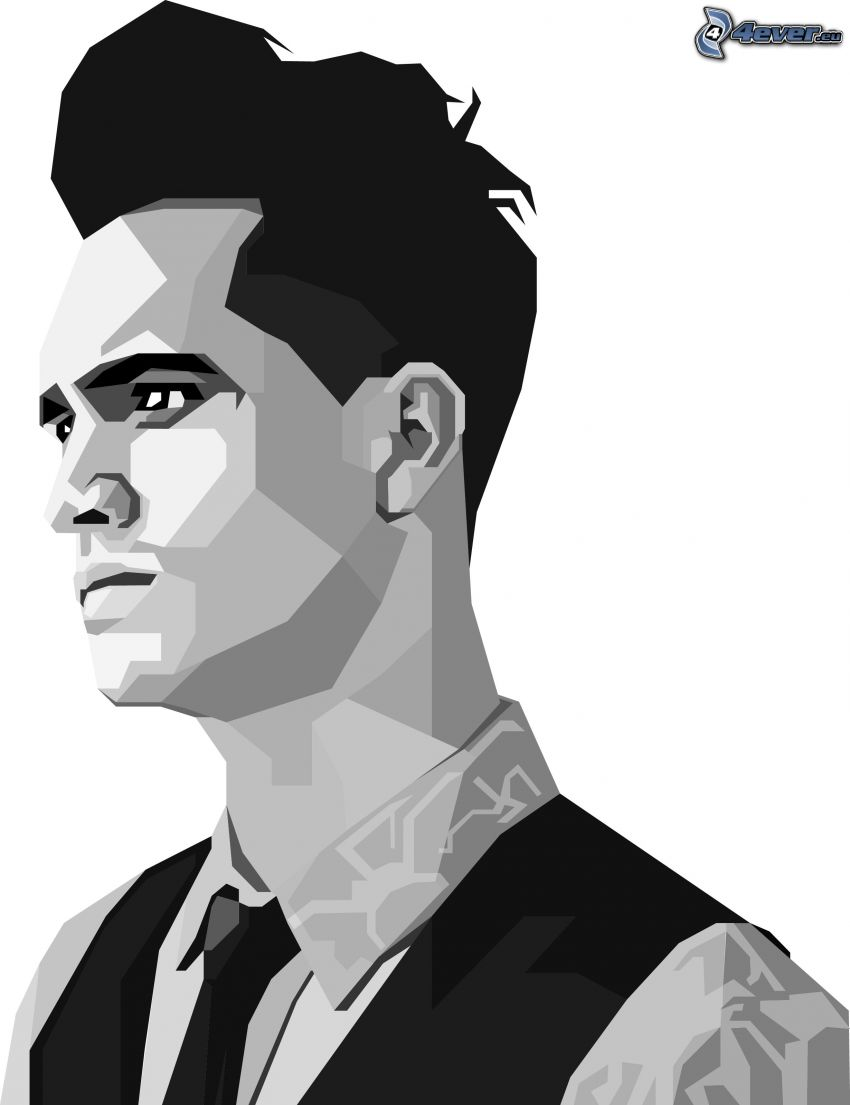 Brendon Urie, black and white