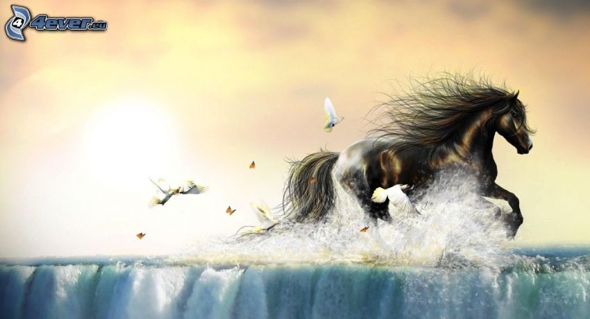 brown horse, birds, water, butterflies