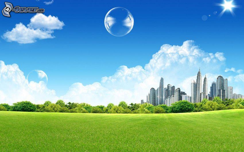 bubbles, skyscrapers, grass, trees, clouds, sun