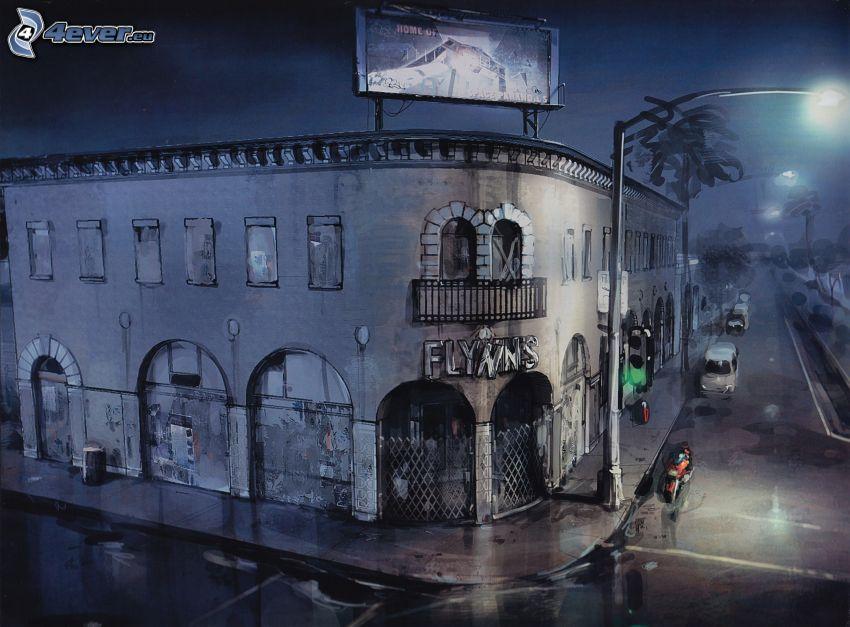 building, night, street