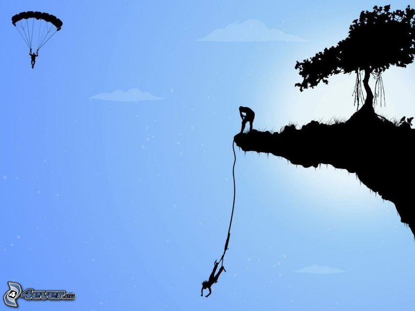 Bungee jumping, paragliding, flying island, tree, silhouette