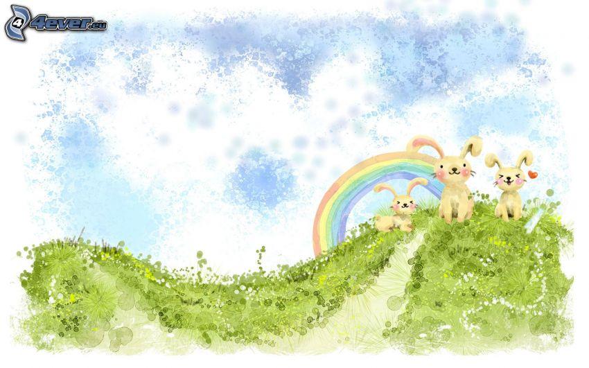 bunnies, rainbow