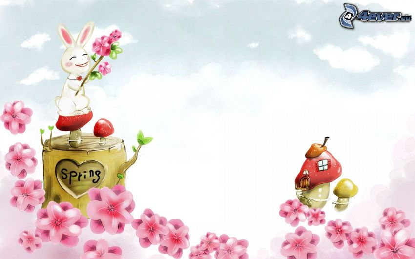 bunny, mushrooms, pink flowers