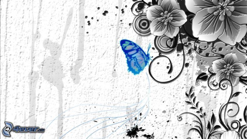 butterfly, cartoon flowers