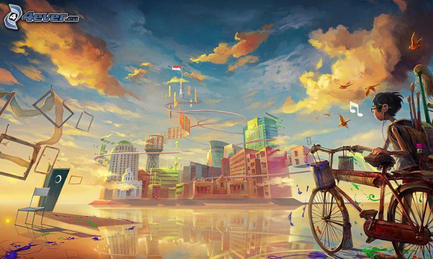 cartoon boy, bicycle, city
