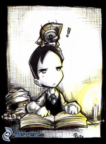 cartoon boy, book
