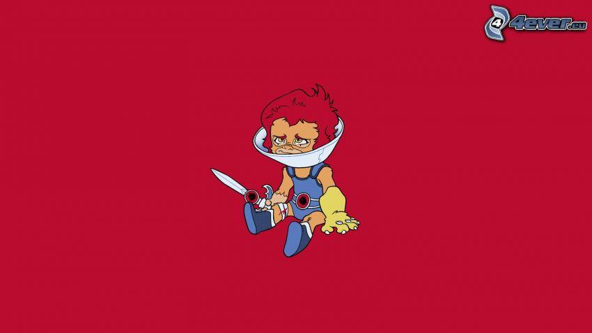 cartoon boy, knife