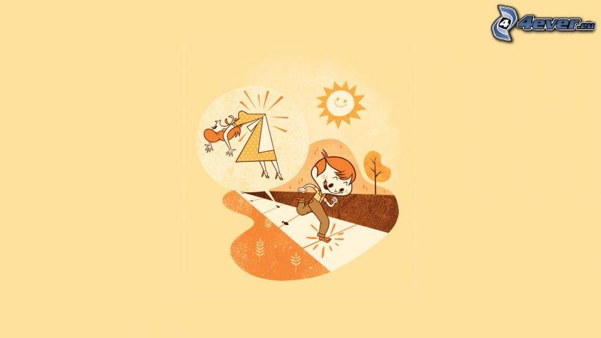 cartoon boy, running, sidewalk, cartoon woman, sun