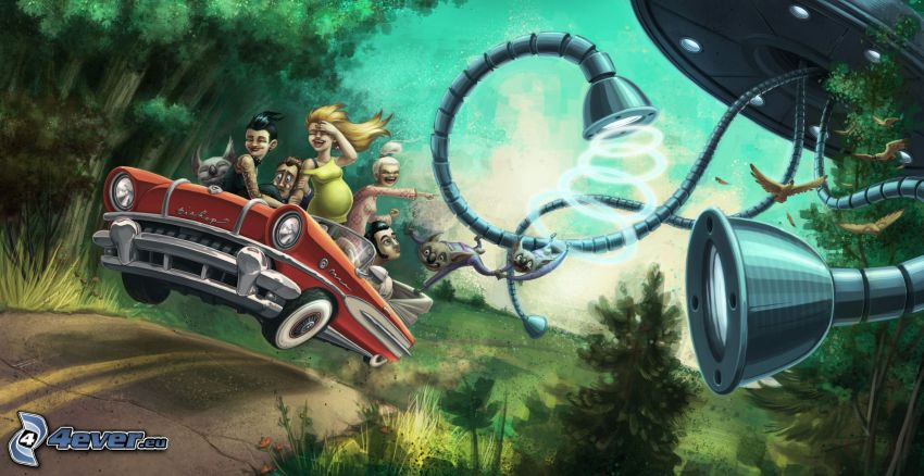 cartoon car, cartoon characters, road