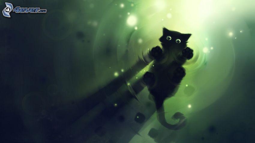 cartoon cat, black cat, cat over water