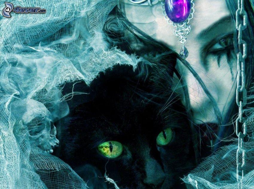 cartoon cat, cartoon woman, black cat