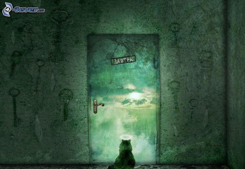 cartoon cat, door