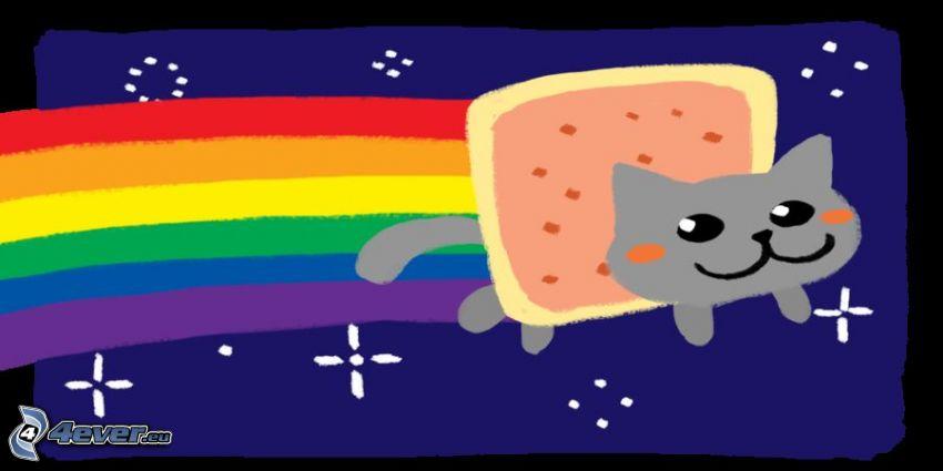 cartoon cat, rainbow