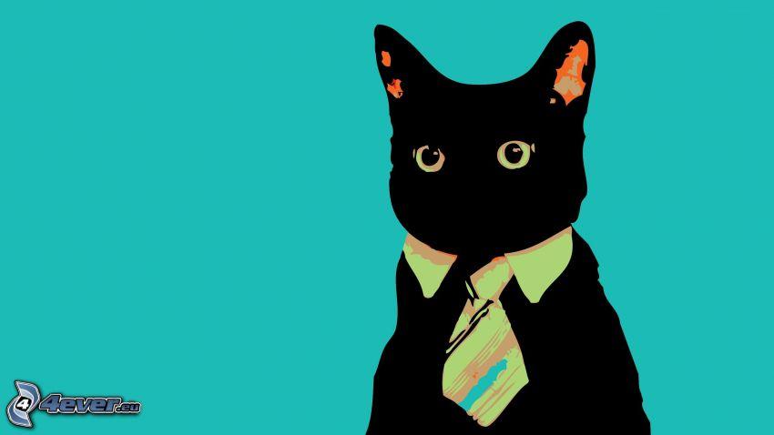 cartoon cat, tie, black cat