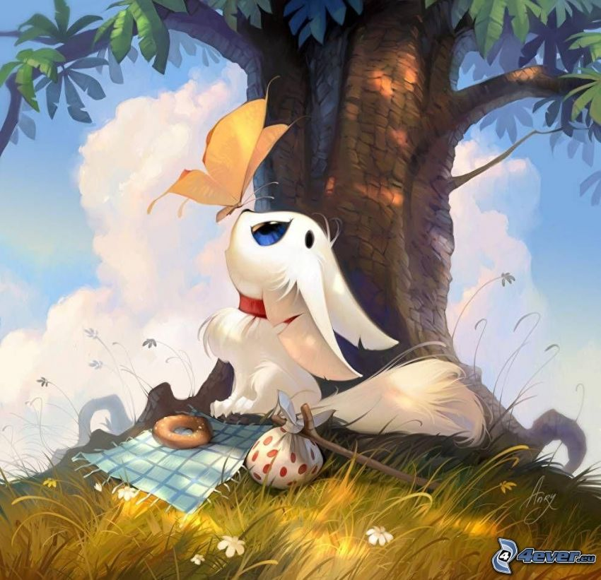 cartoon cat, white cat, butterfly, tree, grass