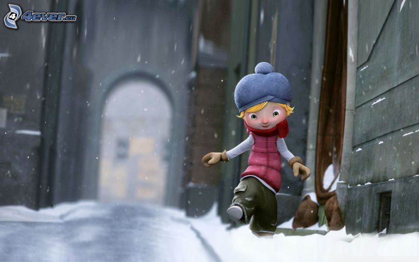 cartoon character, snowy street