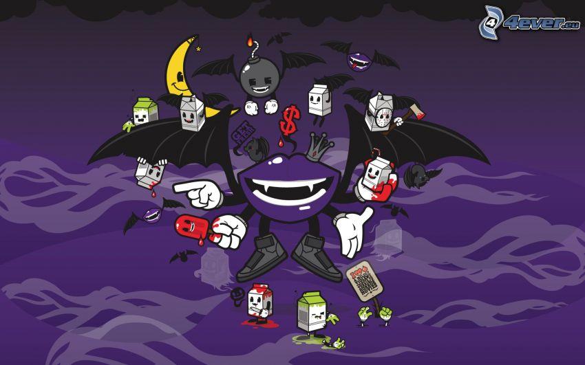 cartoon characters, bomb, banana, mouth, wings
