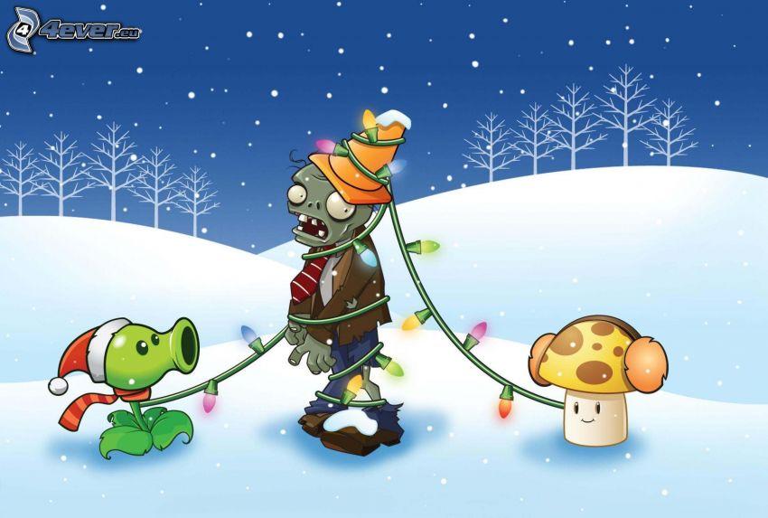 cartoon characters, lights, snow